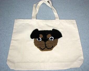 Rottweiler Canvas Tote  - Dog Tote Bag- Pet Lovers Bag - Custom Tote Bag - Dog Lover Gift - Dog Moms Gift -