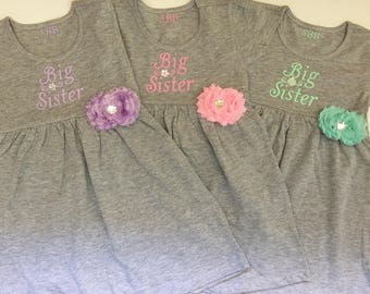 BIG SISTER DRESS --- choose your accent color