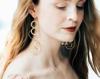 Super long gold hoop dangle earrings, Gold hoopChandeliers, Long Modern Dangle Earrings , Statement Earrings, Dramatic Earrings