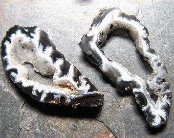 Black & White, Rough Cut Geode Slice Pair