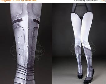 ON SALE/// Tattoo Tights -  Warrior Princess white full length printed closed toe tights, pantyhose, tattoo socks, shield, knight
