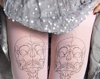 SALE///Happy2018/// Skeleton tattoo tights, medical anatomy illustration black and light pink full length printed tights, pantyhose, nylons,