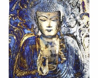 Blue Buddha Tapestry - Inner Guidance - Blue and Brown Buddhist Artwork on Lightweight Polyester Fabric