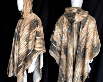 Printed Wool Serape, Poncho, Ruana with Clasp, Contrast Hood Lining, Two-of-a-kind, Festival Coat