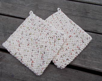 Crochet Hot Pads, Variegated Pot Holders, Crochet Pot Holders ,Cream,Fleck, Trivet, Housewarming Gift, Kitchen Gift, Hand Crochet
