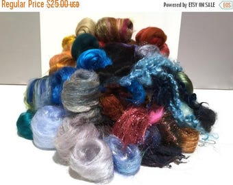 KIT SALE Deluxe Needle Felting, Spinning Fiber Surprise / Challenge, large assortment of colors, texture fibers, locks, roving, Choose Color