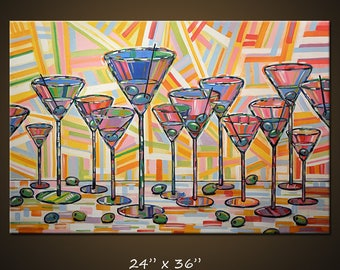 """Art Painting Abstract Modern Dining Room Bar Decor Martini Olives Glasses Kitchen Art  ... """"Martini Hour"""" 24"""" x 36"""" by Amy Giacomelli"""