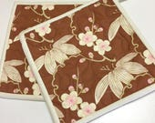 Pot Holders Trailing Cherry Blossoms Hot Pads (Set of 2) Quilted Handmade
