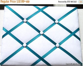 July 4th Sale Turquoise Ribbon and White Memory Board French Memo Board, Fabric Ribbon Bulletin Board, Fabric Pin Board, Fabric Photo Bo...