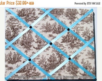 Merry Christmas Sale Brown on Natural Toile Memory Board French Memo Board, Fabric Ribbon Memo Bulletin Board, Fabric Pin Board, Bedroom Dec