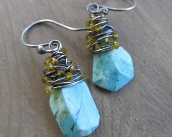 Turquoise Dangle Earrings Silver Wire Wrapped Earrings Turquoise and Citrine Dangling Earrings Wire Wrap Gemstone Earrings Blue Yellow