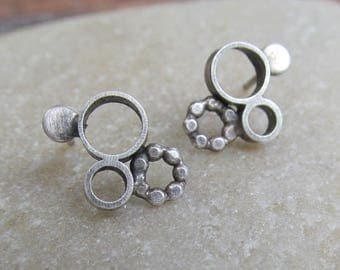 Silver Stud Earrings Sterling Bubble Studs Circles Post Earrings Funky Silver Jewelry Boho Earrings Studs Cute Everyday Silver Earrings