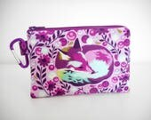 Fox Coin Purse, Purple Change Purse, Carabiner Coin Purse