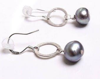 Grey Pearls sterling silver drop earrings