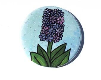 Hyacinth Pocket Mirror, Pin Back Button, or Fridge Magnet - Purple Flower - Spring Flower
