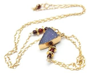 Druzy Arrow Necklace Natural Quartz Gold Leafed Iridescent Purple Drusy Agate Nature Gemstone 14K Gold Filled Amethyst Orange Carnelian Long
