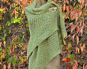 Crochet Shawl Green Wool Shawl Oversized Warm Shawl Crochet Wrap