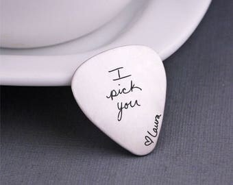 Your Own Handwriting, Custom Guitar Pick, Anniversary Gift for Him, Gift for Music Lover, Guitar Player Gift