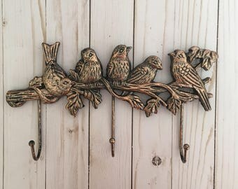 Cast Iron Birds on Branch Triple Hook - Copper - Bronze Colored Finish
