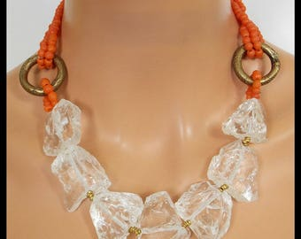 ZELDA - Rock Crystal - Old African Money Rings - Handmade Indonesian Glass Beads Statement Necklace