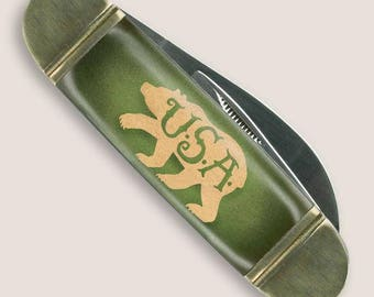 USA Bear - Mack the Knife - Pocket Knife -  Pocket Knife  by Trixie & Milo - Gift Boxed