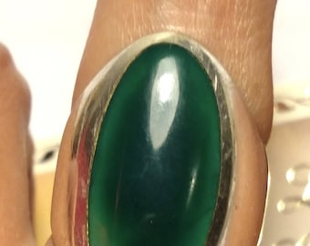 Huge Vintage Antique 925 Sterling Silver Green Stone Cabochon Ring Size 6.5 Boho Statement Goth Gothic Steampunk