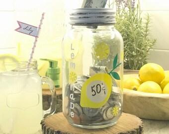 Lemonade Stand Mason Jar Coin Bank - Mason Jar Bank - Mason Jar - Piggy Bank - Mason Jar Piggy Bank - Coin Bank - Lemonade Stand