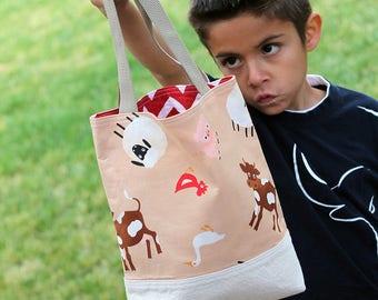 Toy bag, Scripture bag, bible, Beach, pool, library bag, diaper bag, Dance bag, preschool, Book bag, Toddler bag, kid tote bag, Farm animals