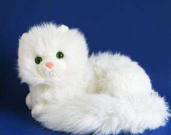 Vintage Large White Kitty Cat Nikki by Russ Berrie Caress Soft Pets Kitten Green Eyes Soft Fluffy 1980s Toy Plush