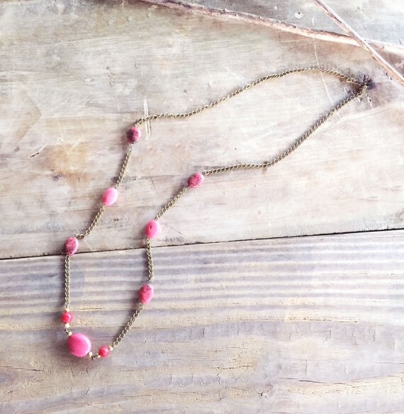 Long Chain Necklace with Coral Stones / Chic Necklace