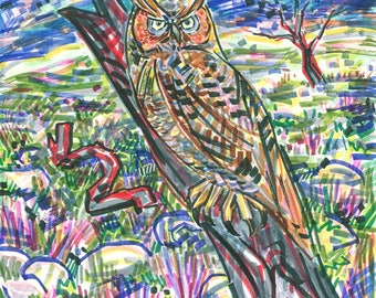 Greeting Card, Owl Enlighten, Comet, Twilight, Ecofriendly, Sustainable printing, NonToxic Inks, Affordable Art, Full Moon, Nature Night