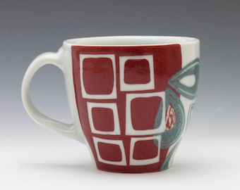 Turquoise and Red Tea Mug
