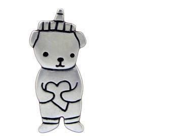 Silver Honey Bear Necklace - Sterling Silver Bear Pendant