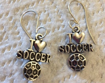I Love Soccer Earrings - Silvertone and Sparkly