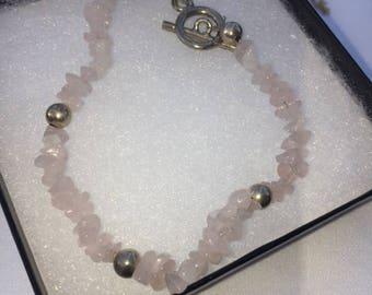 Genuine Rose Quartz Crystal Bracelet, Sterling Silver Clasp, Silver Beads