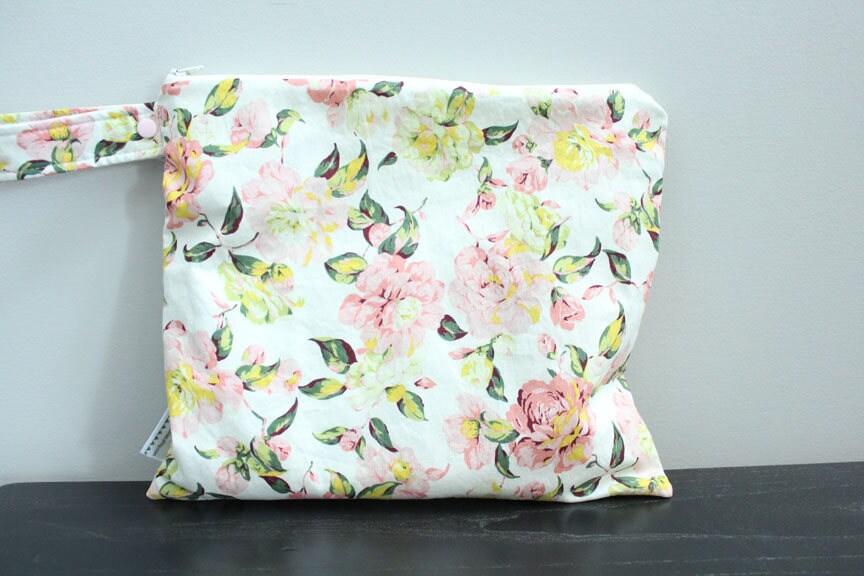 Wet Bag Wetbag Diaper ICKY Proof Ivory Floral Gym Swim Cloth Accessories Zipper Gift Newborn Baby Kids Beach