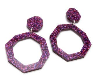 Ruby  Glitter Retro Hoop Double Drop Earrings - Purple Glitter Acrylic Statement Earrings - Hexagonal Geo Laser Cut Perspex Earrings
