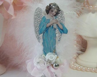 Christmas Ornaments, Vintage Victorian Images, Angels, Fairies, Pixies, Tree Ornament, Pastel, Cottage Chic, Shabby