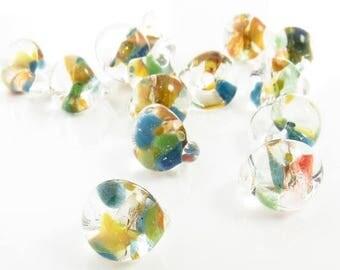 Summer Sale 10mm Unicorne Tear Drop Lampwork Beads - Mango Tango - 4 Pieces - 22206