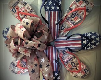 Americana Flip Flop Wreath with Bow