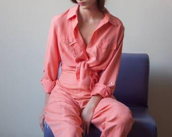 peach pink silk cotton pant set / matching set / m / l / US 12 14 / 2841t
