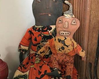 CustomerAppreciationSale Primitive Halloween Witch & Jack ready to ship