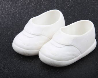 Horsman, Shoes For a Baby Doll, Toys, Vintage, White, Plastic, Doll Sneakers, Accessories for Toys, Pair  ~ The Pink Room ~ SS006