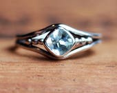 Custom listing: Sterling silver aquamarine ring, recycled sterling silver, bezel set ring, aquamarine promise ring