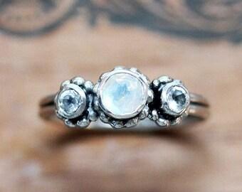 Rainbow moonstone ring, 3 stone ring, mothers rings birthstones, right hand ring, June birthstone ring, Crush trio, ready to ship sz 7.5