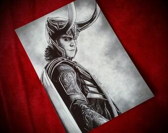 Avengers large postcard print. A5 size. Loki. Thor. Tom Hiddleston. Chris Hemsworth. Asgard.
