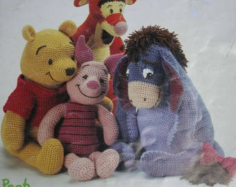 Crochet Patterns Pooh and Friends Leisure Arts 3262 Tigger Piglet Eeyore Worsted Weight Yarn Paper Original NOT a PDF