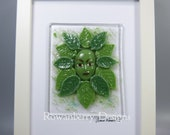 TEST PIECE Green Woman - Handmade Fused Glass Framed Picture - Rowanberry SRA - Art - Painting - Kilnformed