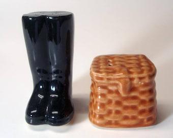 Boots Fishing Basket Salt Pepper Shakers Vintage