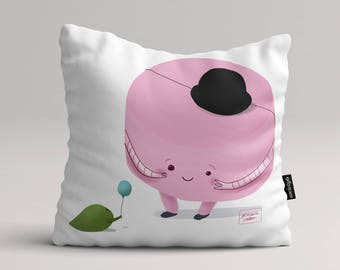 Cute pink marshmallow - Illustrated throw pillow cover